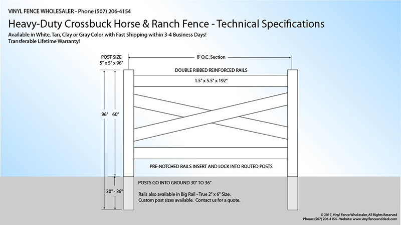 white vinyl crossbuck fence