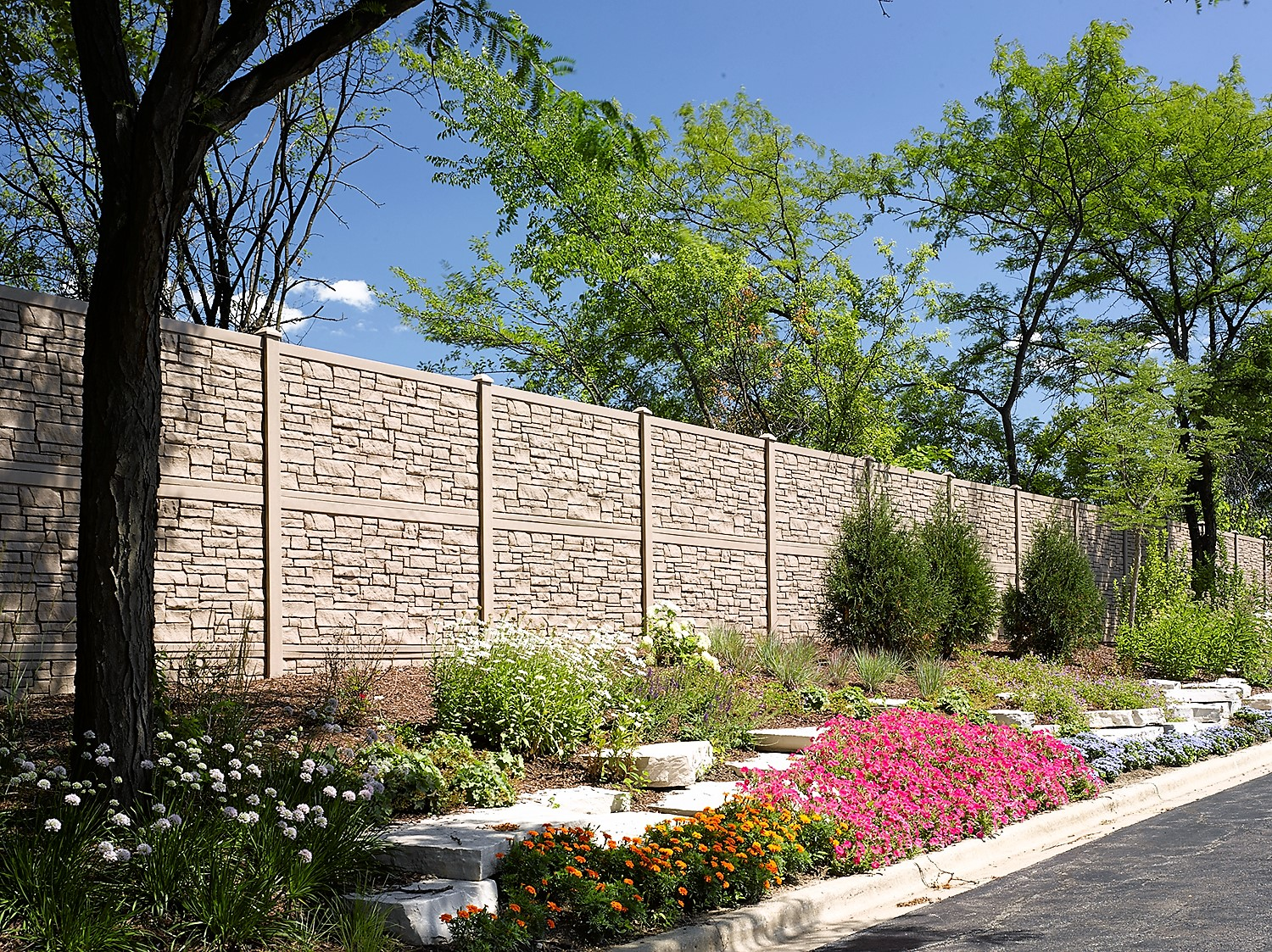 EcoStone Brown Granite Simulated Stone Fence 12' Tall Sound Wall;