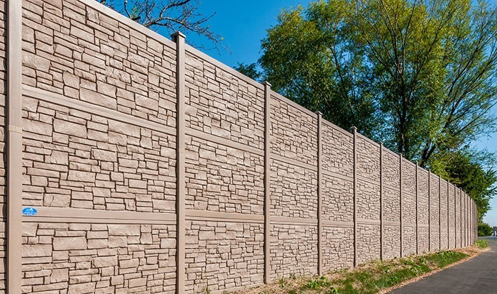 12 Foot Tall Sound Wall, Simulated Stone Fence