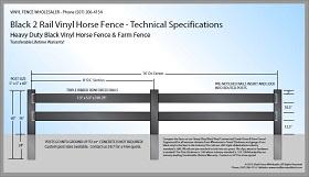 Black 2 Rail Vinyl Horse Fence CAD