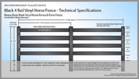 Black 4 Rail Vinyl Horse Fence CAD