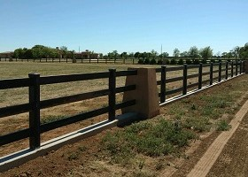 black Vinyl Post and Rail fence