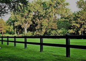 black 3 rail vinyl horse fence