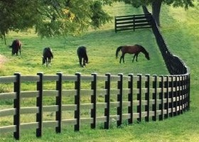black post and rail vinyl horse fence