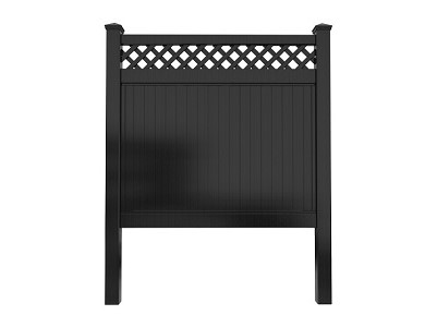 Black Privacy Fence Panel with lattice top