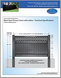 4' tall vinyl privacy fence black with lattice