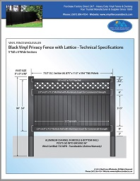 5' tall vinyl privacy fence black with lattice