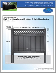 6'tall black vinyl privacy fence panel with lattice