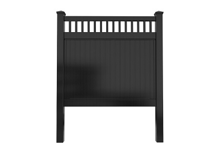 8' Tall Black Privacy Fence Panel with Picket Top