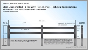 Black 2 Rail Diamond Rail Vinyl Horse Fence CAD