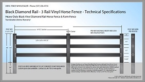 Black 3 Rail Diamond Rail Vinyl Horse Fence CAD