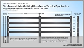 Black 4 Rail Diamond Rail Vinyl Horse Fence CAD