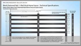 Black 5 Rail Diamond Rail Vinyl Horse Fence CAD