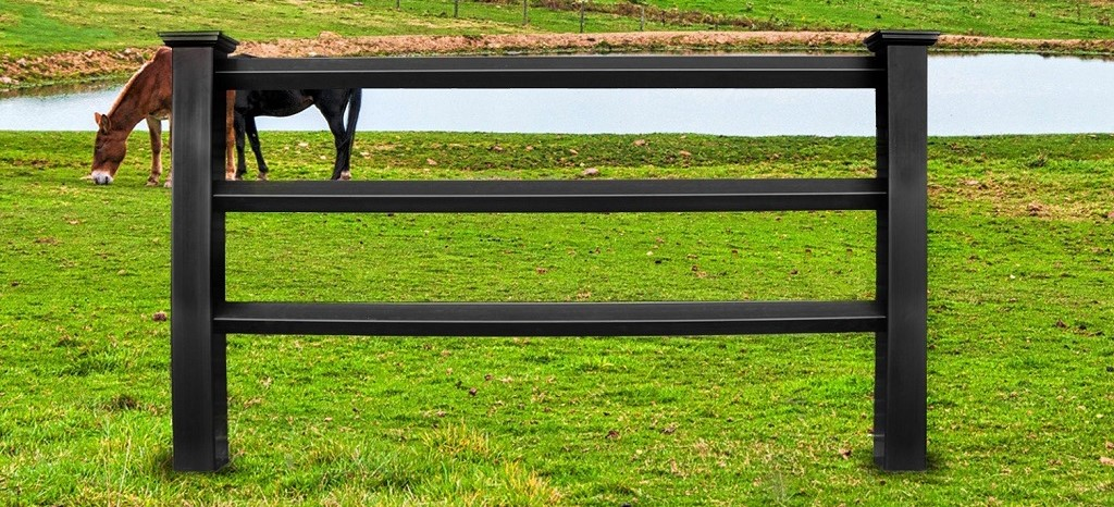 black diamond rail horse fence