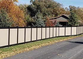 black and Tan privacy fence color combo vinyl fence
