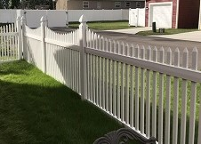 Sacramento white vinyl picket fence panel