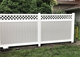 Gray privacy fence